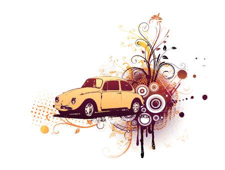 escarabajo: Ilustraci�n vectorial de la vieja costumbre de la Beatle Grunge floral de fondo decorativo