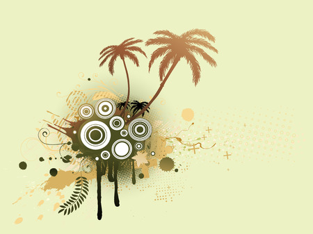 A vector illustrated decorative elements with palm trees and Grunge circles Vector
