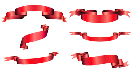 Vector illustration of red blanked bows, ribbons and banners With Space for Text Stock Vector - 5087160
