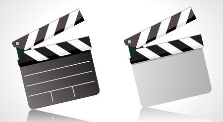 movie clapper: Illustratore vettoriale di una commissione clapper filmato Vettoriali