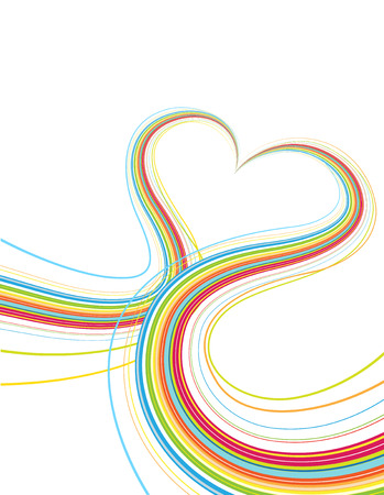Vector illustrator of Colorful lines crossing each other on heart shape Vector
