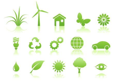 vector icon: Vector illustration of green ecology icon set