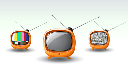 Vector illustration of funky styled design of cute television Vector