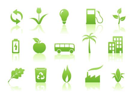 palmtrees: Ilustraci�n vectorial de conjunto de iconos de ecolog�a verde