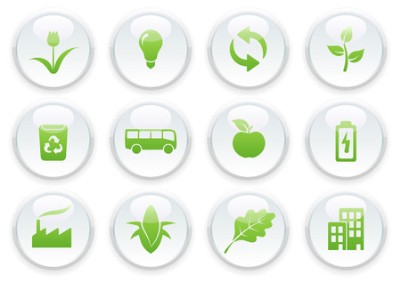 Vector illustration of green ecology icon set Vector