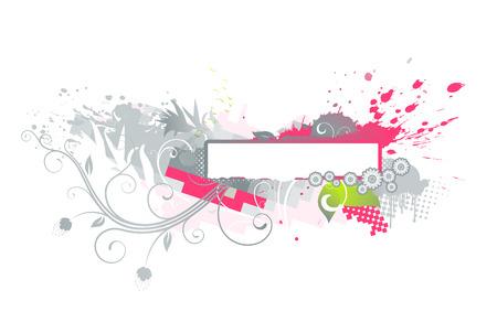 Vector illustration of Grunge Floral Decorative banner Vector