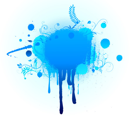 heading the ball: Vector illustration of Grunge Floral Background with big blue blot