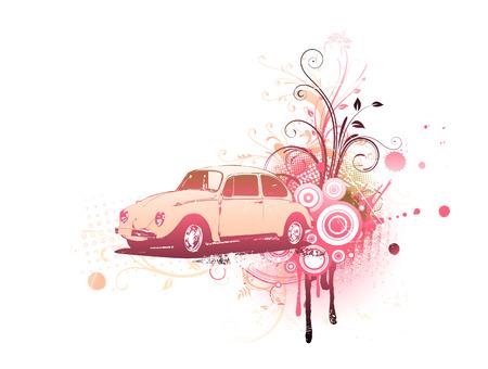 käfer: Vector illustration der alte Brauch Auto auf der Grunge Floral Dekorative Hintergrund