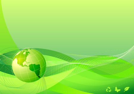 Vector illustration of green abstract lines background - composition of curved lines and globe Vector