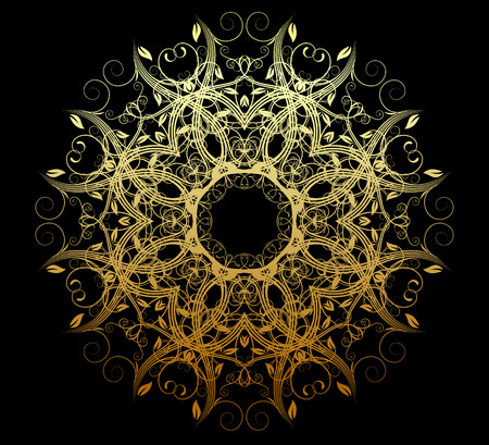 Vector illustration of abstract golden floral and ornamental element Vector