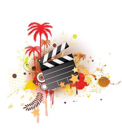 A vector illustration of decorative background with palm trees, grunge circles and movie clapper board Illustration