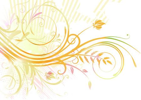 Vector illustration of orange Grunge Floral Background Vector