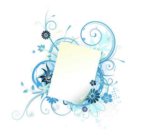 Vector illustration of Grunge blue Floral Background with paper leaf frame  Vector