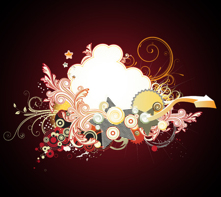 Vector illustration of urban retro styled background made of floral and ornamental elements. Vector