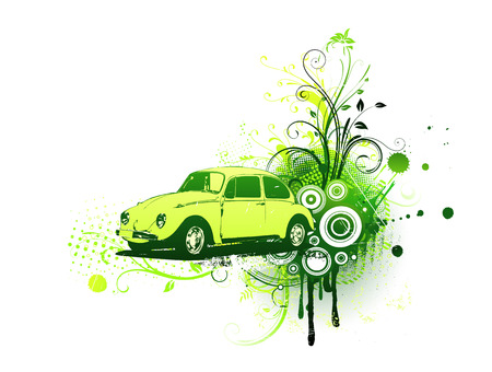 Vector illustration of old green custom car on the Grunge Floral Decorative background Vector