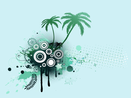A vector illustrated blue decorative elements with palm trees and Grunge circles Vector