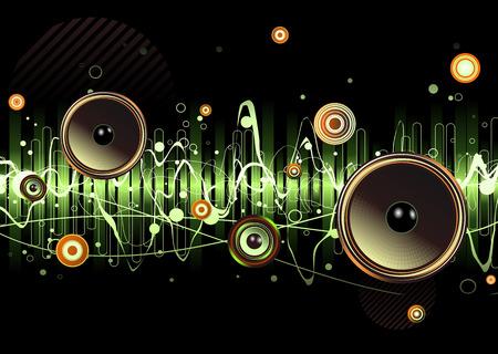 geluidsgolven: Vector afbeelding van groene abstracte partij ontwerp met stedelijke muziek scène - luidsprekers en geluids golven Stock Illustratie