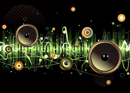 Vector illustration of green abstract party design with urban music scene - Speakers and sound waves Vector