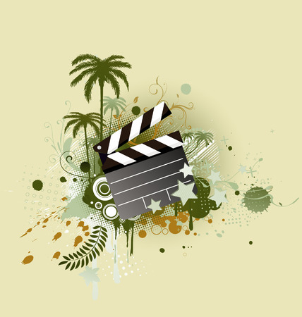 A vector illustration of decorative background with palm trees, grunge circles and movie clapper board Stock Vector - 5184888