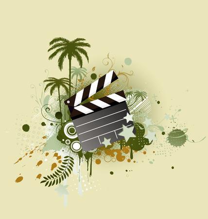movie clapper: Una illustrazione vettoriale di sfondo decorativo con palme, circoli e grunge film batacchio bordo