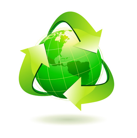 Vector illustration of green Earth with recycle symbol. Vector