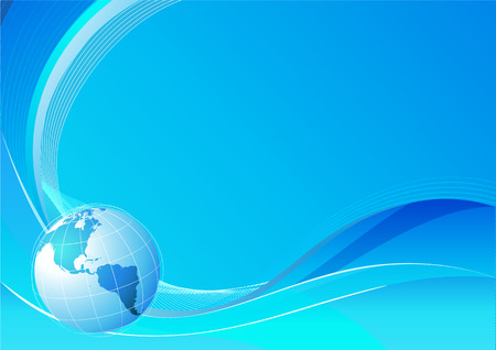 Vector illustration of blue abstract lines background - composition of curved lines and globe Vector
