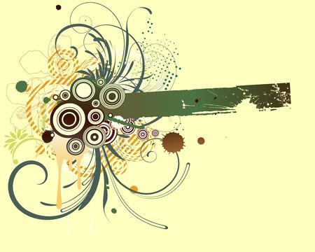 Vector illustration of Grunge Floral frame  Vector