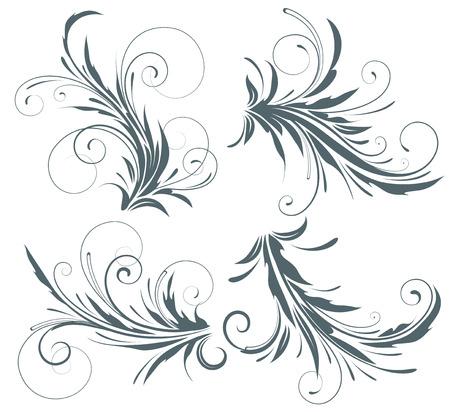 pluma: Vector illustration conjunto de cuatro remolinos florece elementos decorativos florales