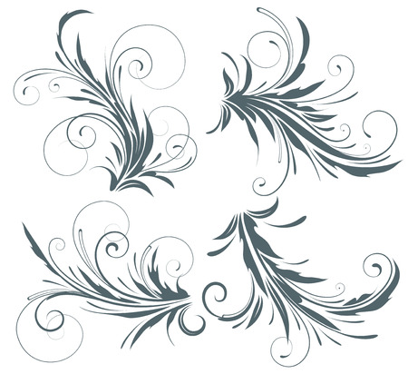 feather vector: Vector illustration set of four swirling flourishes decorative floral elements Illustration