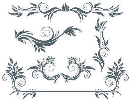 Vector illustration set of swirling flourishes decorative floral elements Vector