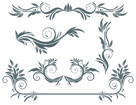 creepers: Vector illustration set of swirling flourishes decorative floral elements