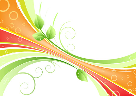 Vector illustration of abstract background with of wave lines and green leaves with water drops Vector