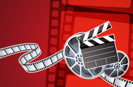 Vector illustration of abstract background with film, clapperboard and a film reel Vector