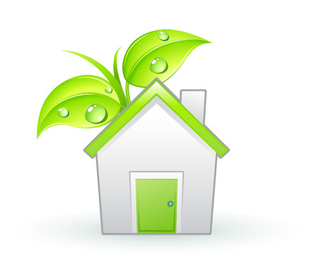 reforestaci�n: Ilustraci�n vectorial de un solo icono ecol�gica - casa verde y hojas verdes con gotas de agua