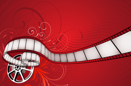 reels: Vector illustration of red floral abstract background with film and film reel