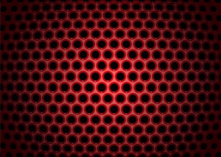 Ilustración vectorial de fondo abstracto con texturas de rojo de chapa perforada  Ilustración de vector