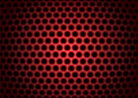 metal mesh: Vector illustration of abstract background with textures of red perforated metal plate