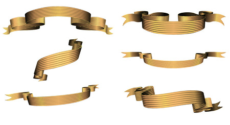 blanked: Vector illustration of golden blanked bows, ribbons and banners With Space for Text