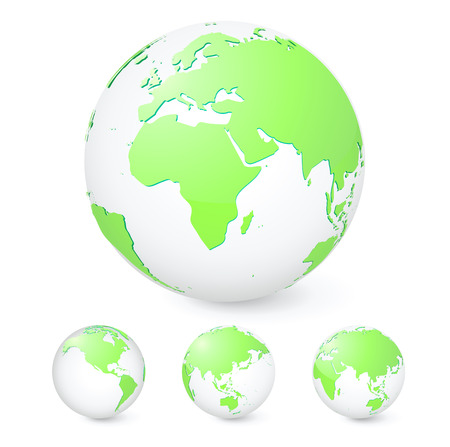 Vector illustration set of green globes showing our planet revolving in different stages Vector