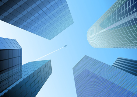 Vector illustration of Looking up at skyscrapers in the blue city and airplane in the sky Vector