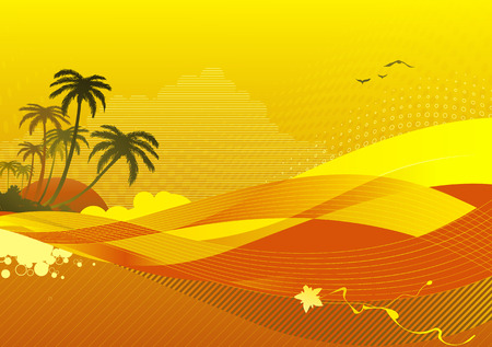 Vector illustration of abstract  background with sunrise on the ocean coast.  Vector