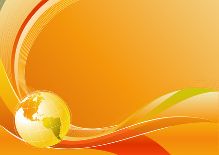 Vector illustration of orange abstract lines background - composition of curved lines and globe Vector