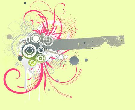 Vector illustration of Grunge Floral Decorative frame Vector