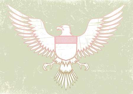 Vector illustration of coat-of-arms bird - Medieval Eagle of my own design in Grunge style Vector