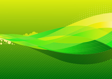 Vector illustration - abstract background made of green splashes and curved lines Vector