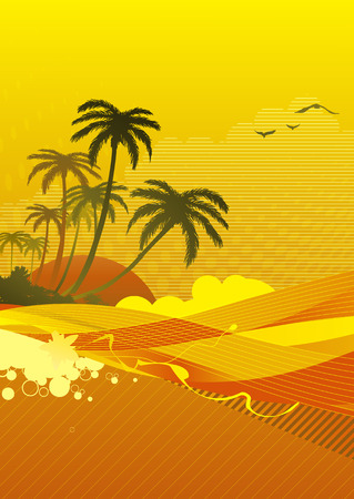 Vector illustration of abstract background with sunrise on the ocean coast Vector