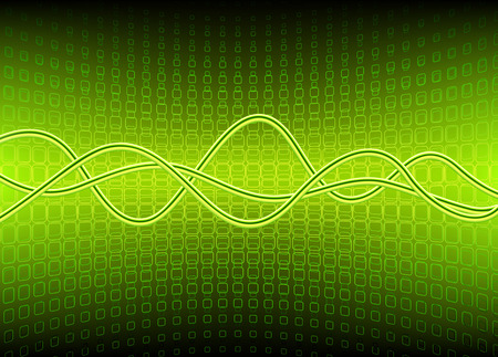 Vector illustration of green semicircle surface made of squares and curved lines Vector