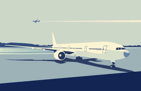 Vector illustration of a detailed airplane on the urban airport scene.  Retro style. Vector
