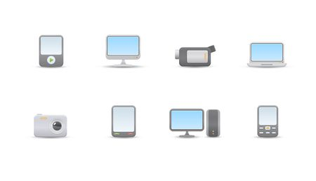 set of elegant simple icons for common digital media devices photo
