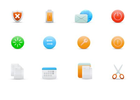 log off: set of elegant simple icons for common computer functions Stock Photo